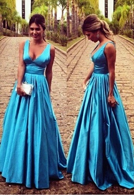 Gorgeous A-Line V-Neck Prom Gowns Sleeveless Floor Length Sexy Evening Dresses_1