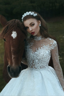 Attractive Roayl Long Sleeves Wedding Dresses High Neck Sequins Vintage Bridal Gowns Online_4