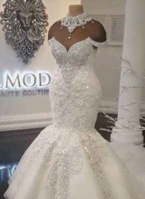 Gorgeous Off-the-Shoulder Lace Appliques Wedding Dresses Crystals Mermaid Bridal Gowns Online_2
