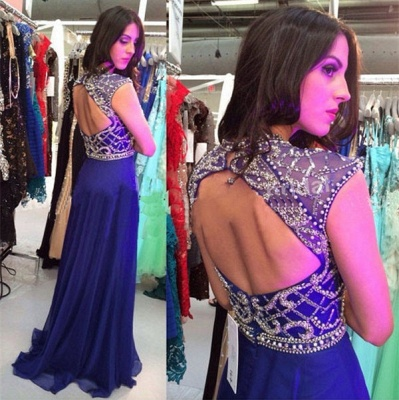 A-Line Halter Open Back Evening Dress with Beadings Crystal Floor Length Prom Dress_3
