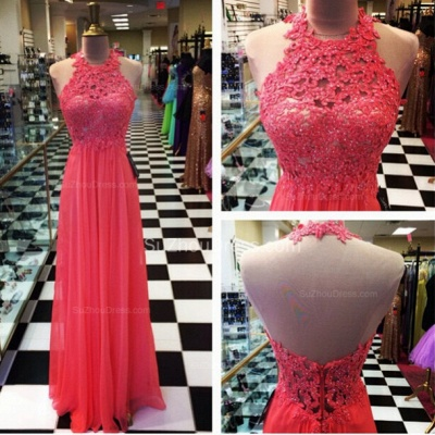 Floor Length A-Line Lace Prom Gowns  Halter Open Back Evening Dresses_2