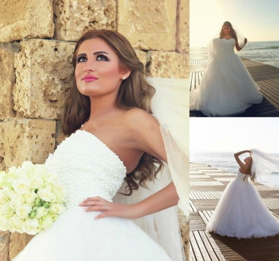 New Arrival Sweetheart Tulle Wedding Dress with Beadings Elegant Sweep Train Bridal Gowns BA7296_5
