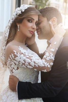 Gorgeous Crystal Appliques Wedding Dress  Tulle Long Sleeves Bridal Gowns_4
