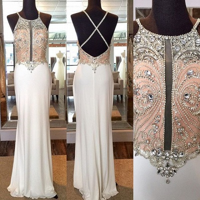 Crystal Sheath Floor Length Evening Dresses Crossed Back Beading Party Gowns_3