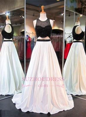Sweep-Train Beads Two-Piece Newest A-line Sleeveless Evening Dress_3