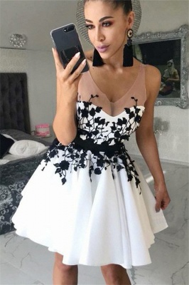 Elegant Short V-Neck Homecoming Dresses | Sleeveless Appliques A-Line Party Dresses_3