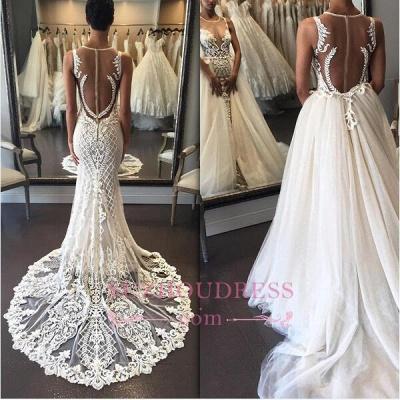 Sleeveless Lace Detachable-Train Illusion Zipper Delicate Wedding Dress BA4005_1