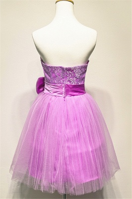 Tulle Strapless Lace Mini Cute Homecoming Dress Under 100 Zipper Short  Bridesmaid Dress With Bowknot_2