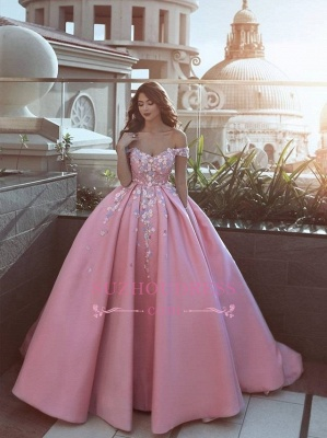 Luxury Floral Off-The-Shoulder Prom Dresses  Pink Puffy Evening Gowns_5