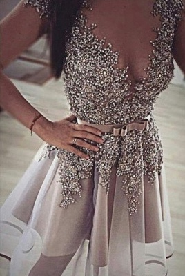 Sparkly Beaded Sequins Silver Homecoming Dresses  Bowknot Belt Evening Gowns_1