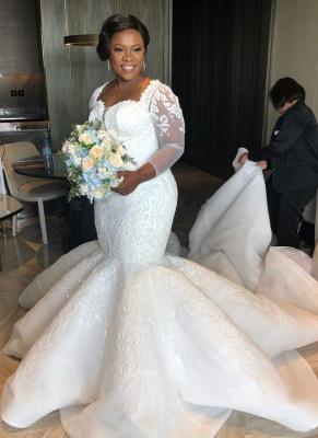 Tempting Sweetheart Mermaid Lace White Wedding Dresses Long Sleeves Appliques Bridal Gowms Online_1