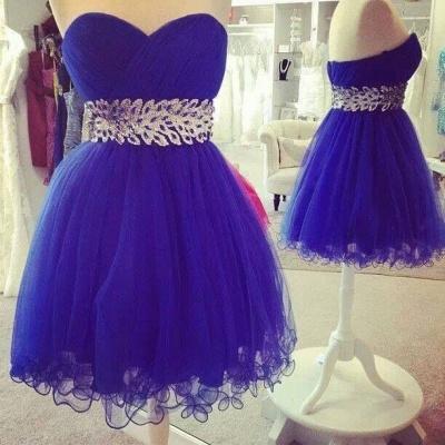 Ruffles Sweetheart Royal Blue Mini Homecoming Dress A-Line Crystal Organza Short Cocktail Dresses_2