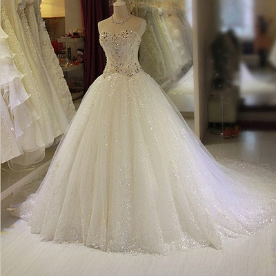 Glamorous Sweetheart Sleeveless Lace Appliques Wedding Dresses Glittery Beaded Bridal Gowns Online_3