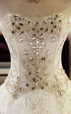 Glamorous Sweetheart Sleeveless Lace Appliques Wedding Dresses Glittery Beaded Bridal Gowns Online_5