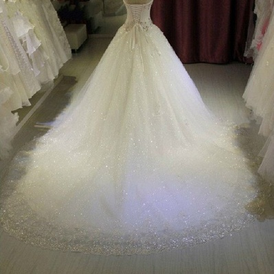 Glamorous Sweetheart Sleeveless Lace Appliques Wedding Dresses Glittery Beaded Bridal Gowns Online_4