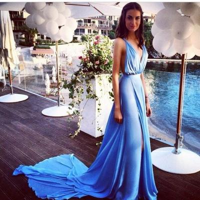 Blue Chiffon  Sexy Summer Evening Dresses Deep V-Neck Side Slit Open Back Popular Prom Dresses_2