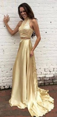 Two Piece Prom Dresses Champagne Gold Sequins Long Evening Gowns_1