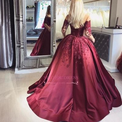 Burgundy Ball Appliques Crystal Off-the-Shoulder Long-Sleeves Prom Dresses BA6695_4
