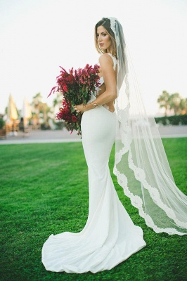Sexy Mermaid Wedding Dress Outdoors Backless Sleeveless Summer Bridal Gowns_3