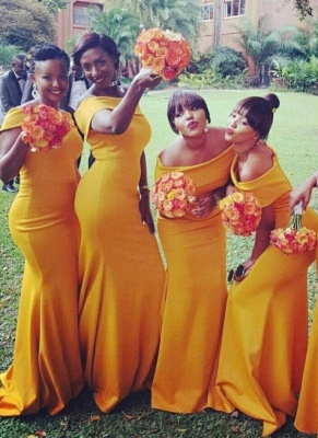 Chic Yellow Sexy Mermaid Off the Shoulder Bridesmaid Dresses