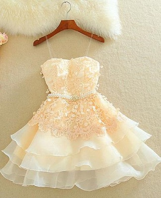 Lovely Mini Peach Homecoming Dresses Organza Sweet Multi-Layered Evening Dress_2
