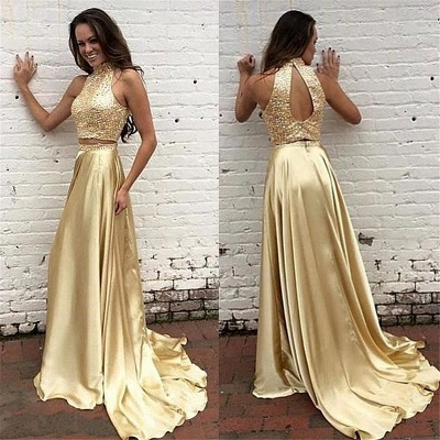 Two Piece Prom Dresses Champagne Gold Sequins Long Evening Gowns_3