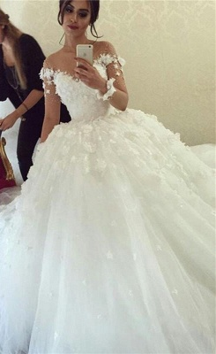 Sheer Long Sleeve Scoop  Ball Gown Wedding Dresses Flowers Tulle Bride Dress with Buttons_1