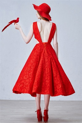 Puffy Lace Skirt  Prom Dresses Backless Tea Length New Arrival Evening Dress_2