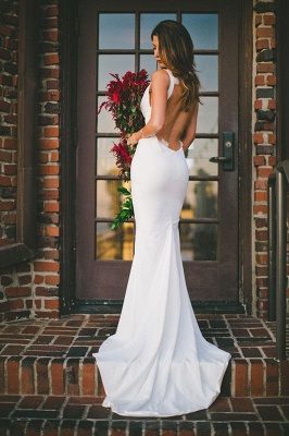 Sexy Mermaid Wedding Dress Outdoors Backless Sleeveless Summer Bridal Gowns_1