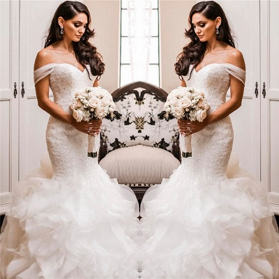 Off The Shoulder Puffy Ruffles Wedding Dresses Cheap | Sheath Tulle Sexy Lace Bridal Gowns_3