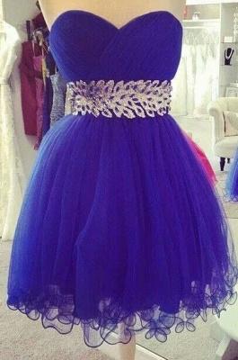 Ruffles Sweetheart Royal Blue Mini Homecoming Dress A-Line Crystal Organza Short Cocktail Dresses_1