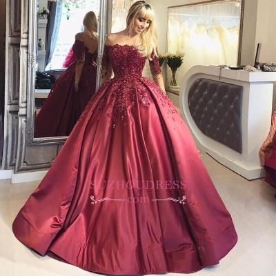 Burgundy Ball Appliques Crystal Off-the-Shoulder Long-Sleeves Prom Dresses BA6695_1
