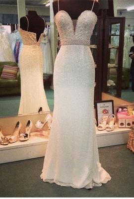 Sexy Mermaid Spaghetti Strap Prom Dress Crystal Floor Length Formal Occasion Dress_3