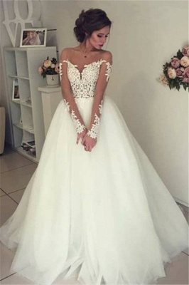 Sheer Long Sleeve Lace Wedding Dresses  Open Back Tulle Ball Gown Bridal Dress_1