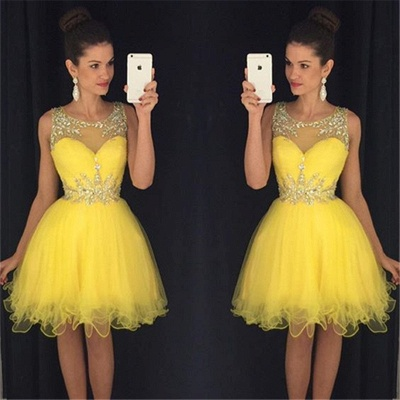 Lovely Organza Homecoming Dresses  Short Beading Crystals  Party Dress_3
