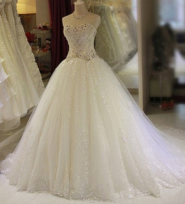 Glamorous Sweetheart Sleeveless Lace Appliques Wedding Dresses Glittery Beaded Bridal Gowns Online_1