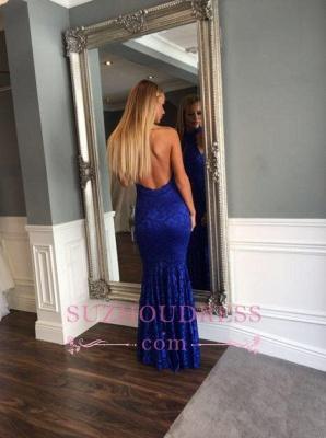Mermaid  Sleeveless Newest Floor-length Lace High-Neck Backless Prom Dress_3
