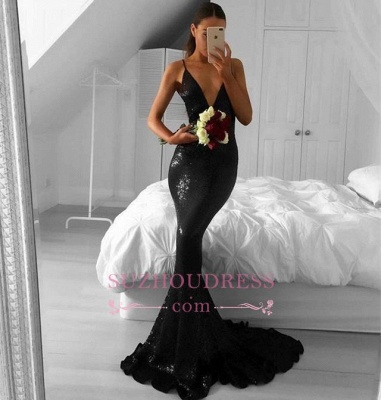 Black Sequined Sexy Mermaid V-Neck Sweep-Train Prom Dresses qq0302-AN0_1