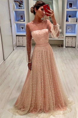 Elegant Tulle Jewel Ruffles Beading Prom Dress Long Sleeves Evening Gowns On Sale BC0617_1