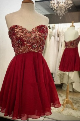 Sweetheart Lace Chiffon Beaded Homecoming Dress  Burgundy Cocktail Dresses_1