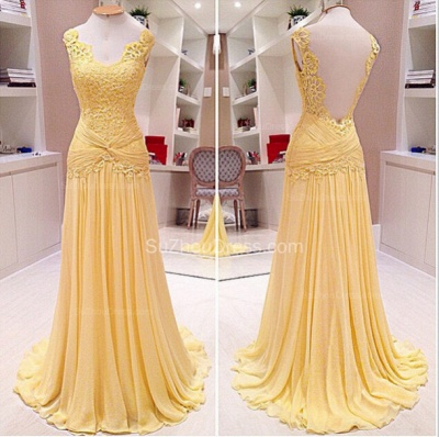 Backless Lace A-Line Evening Dresses  Ruffles Sweep Train Prom Gowns_2