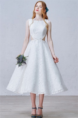 Puffy Lace Skirt  Prom Dresses Backless Tea Length New Arrival Evening Dress_3