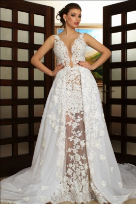 Deep V-Neck Wedding Dresses Over Skirt Shher Tulle Lace Appliques Wedding Dress_1