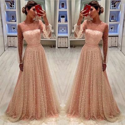 Elegant Tulle Jewel Ruffles Beading Prom Dress Long Sleeves Evening Gowns On Sale BC0617_3