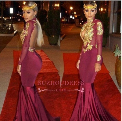 Gold Appliques Keyhole  Burgundy Open-Back Long-Sleeves Mermaid Prom Dresses LY164_3