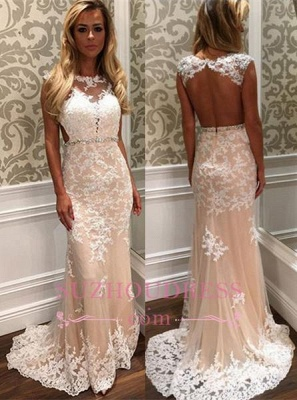 Crystal Long Tulle Lace Gorgeous Open-Back Prom Dress BA4294_3