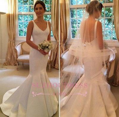 Mermaid Elegant Sleeveless Bride Dress  V-Neck Open-Back Wedding Dress_1