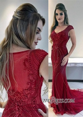 Gorgeous Red Mermaid Evening Dress | Cap-Sleeves Tulle Crystal Prom Dresses_3