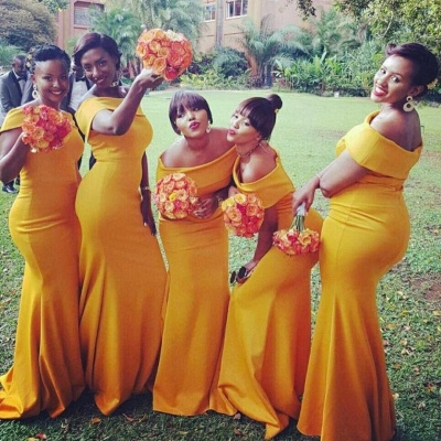 Chic Yellow Sexy Mermaid Off the Shoulder Bridesmaid Dresses_3
