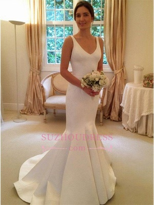 Mermaid Elegant Sleeveless Bride Dress  V-Neck Open-Back Wedding Dress_2